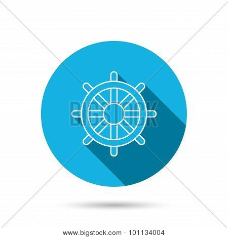 Ship steering wheel icon. Captain rudder sign. Sailing symbol. Blue flat circle button with shadow. Vector poster
