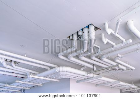 Industrial Pipes For Plumbing System On Building.
