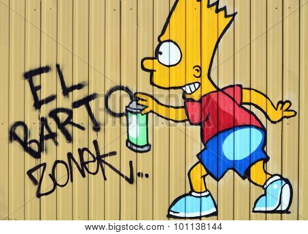 Bart Simpson making a graffiti