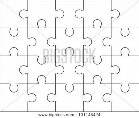 Jigsaw Puzzle Blank Template 4X5, Twenty Pieces