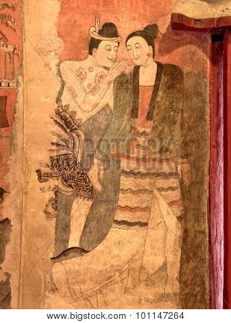 The famous mural painting in ancient Buddhist temple - Wat Phumin, Thailand.