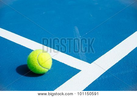 Blue And Green Tennis Court Surface,tennis Ball On The Field