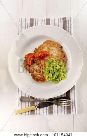 Pancake With Mushy Pea And Tomato