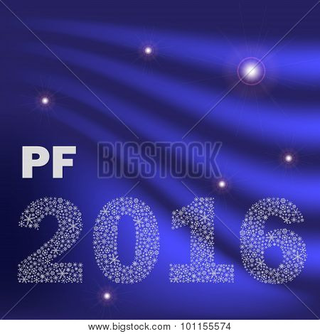 Blue Shiny Abstract Happy New Year Pf 2016 From Little Snowflakes Eps10