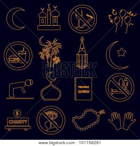 Ramadan Islam Holiday Color Outline Icons Set Eps10