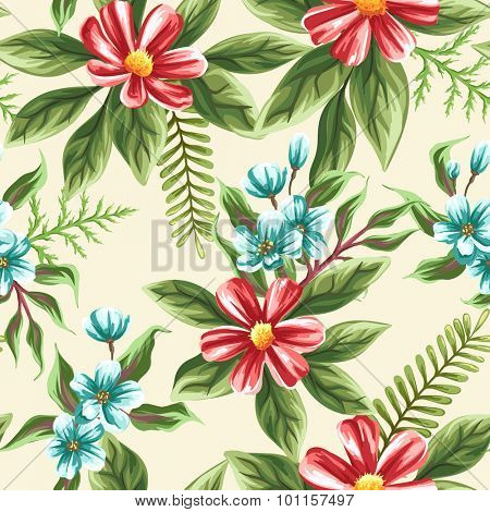 Floral seamless pattern with flowers and leaves on beige background in watercolor style