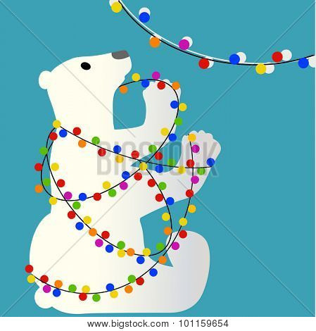Christmas polar bear tangled in lights