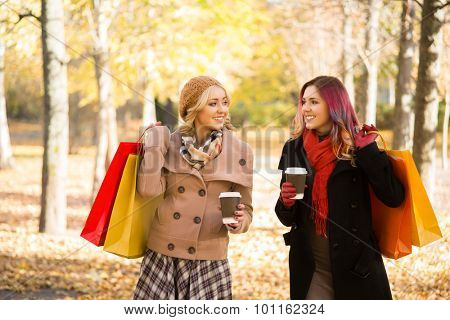 Two beautiful women having a relaxing conversation with coffee after shopping walking in the autumn park. poster