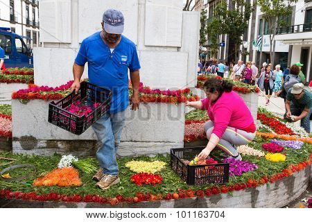 Preparations for the Flower Festival of Funchal, Madeira Island.