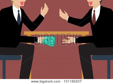 Businessmen Passing Money Under The Table