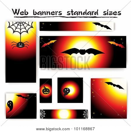 Standard size web banners Halloween collection.