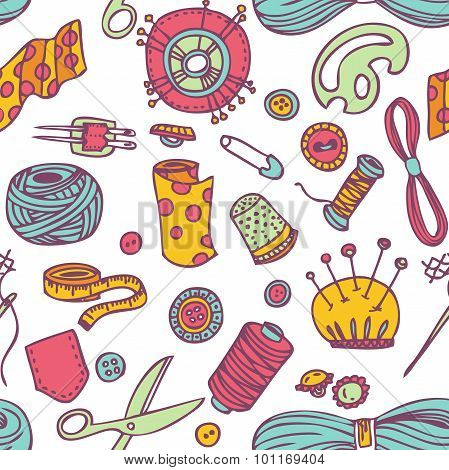 Seamless Vector Doodle Sewing And Needlework Pattern