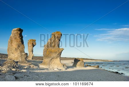 Raukar - Lime Stone Rocks On Fårö, Sweden
