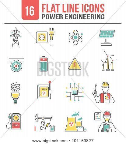 Energy power line icons set