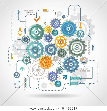Cogged wheels gear mechanism schema poster