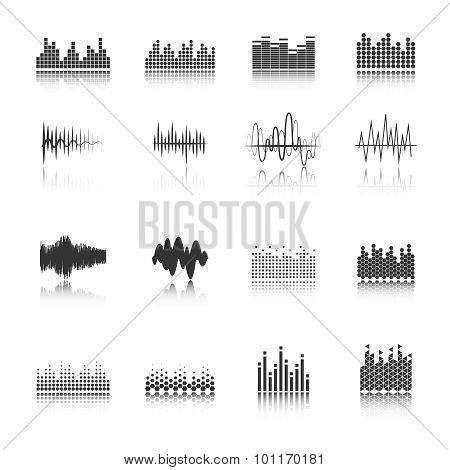Equalizer black icons set