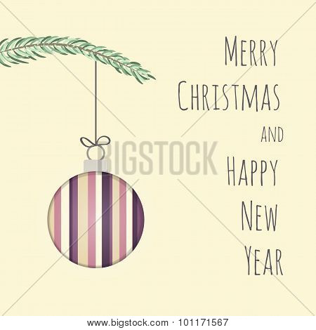 3d effect Christmas and New Year Card
