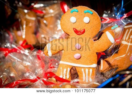 Christmas Gingerbread Man Cheery Photograph Closeup