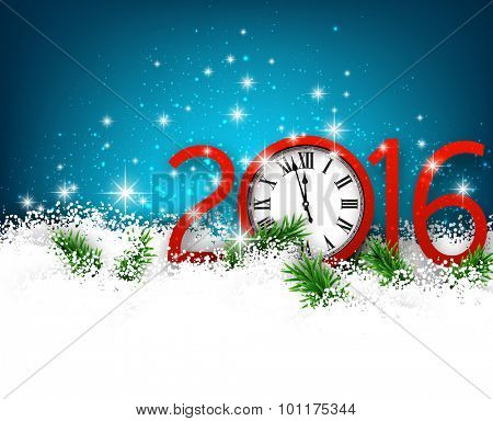 Winter 2016 new year background with spruce twigs and vintage clock. Christmas banner with place for text.