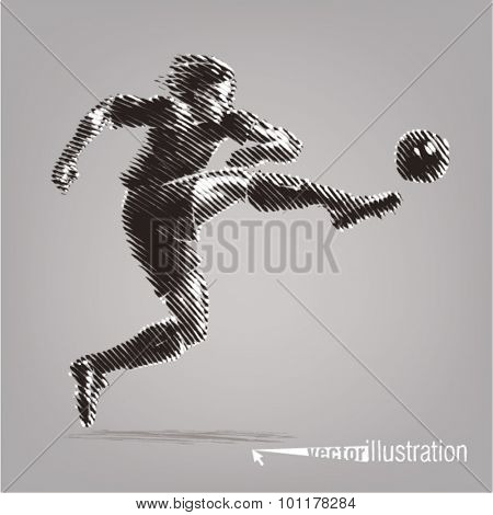 Football striker. Vector artwork in the style of ink drawing