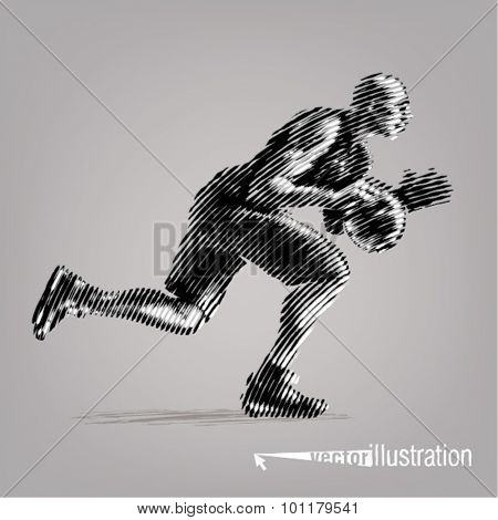 Basketball player.Vector artwork in the style of ink drawing