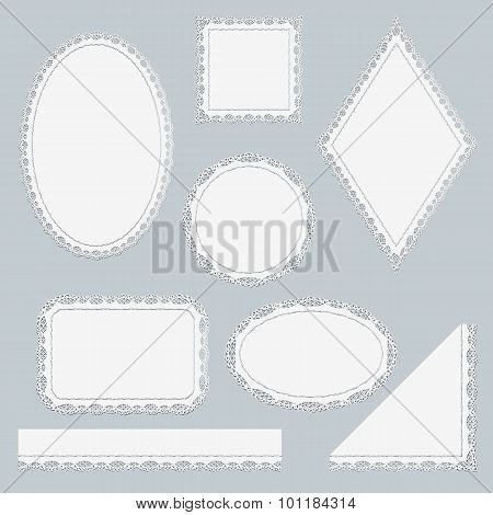 Set Of White Lace Elements Isolated On Gray Background.