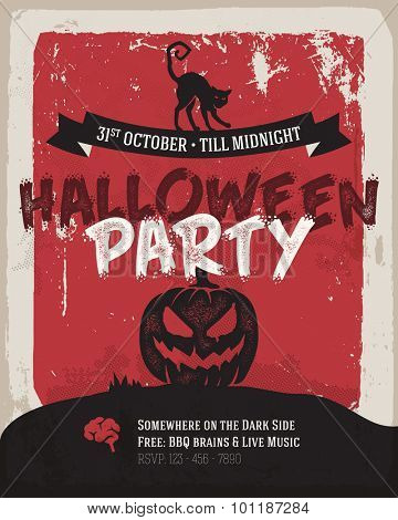 Halloween party poster. Simply flat design, dark creepy mood.