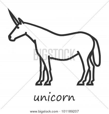 Outline icon unicorn vector