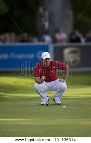 WENTWORTH, ENGLAND. 23 MAY 2009.Paul Casey (GBR) lines up a putt on the 18th playing in the 3rd round of the European Tour BMW PGA Championship.