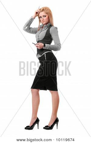 Attractive Young Blonde With Smartphone. Isolated