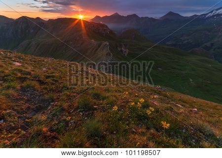 Amazing sunrice on the top of grossglockner pass, Alps, Switzerland, Europe.