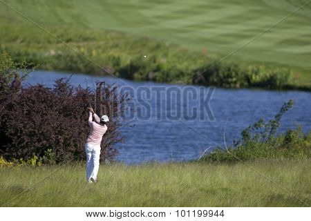 KENT ENGLAND, 30 MAY 2009. Jyoti RANDHAWA (IND) playing in the third round of the European Tour European Open golf tournament.