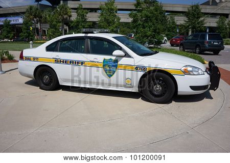 JACKSONVILLE, FLORIDA - JULY 30, 2015: A Jacksonville Sheriff's Office (JSO) police car parked in Jacksonville. JSO currently employs about 1,600 police officers and about 700 correctional officers.