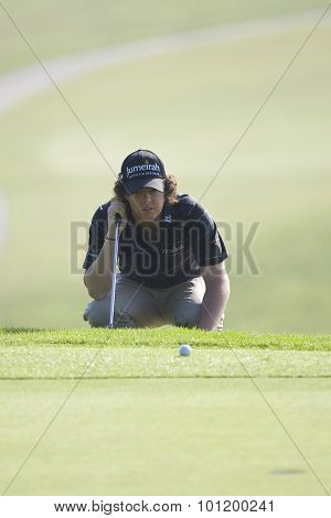 KENT ENGLAND, 29 MAY 2009. Rory MCILROY (GBR) lines up a putt on the 18th green playing in the second round of the European Tour European Open golf tournament.
