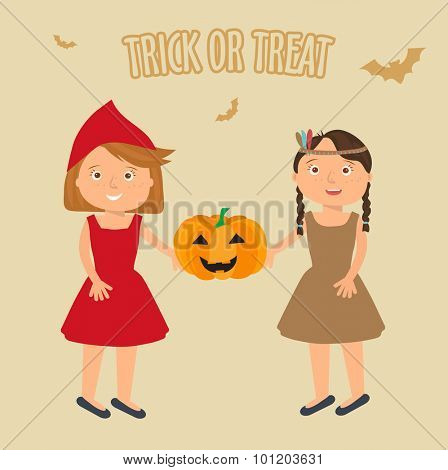 Vector Illustration of cute little girls portraits in halloween costume. Little Red Riding Hood and Pocahontas holding halloween pumpkin in theire hands. Halloween trick or treat illustration.