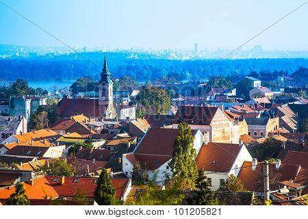 panoramic view from Gardos, Zemun, with church tower, Belgrade, Republic of Serbia. poster