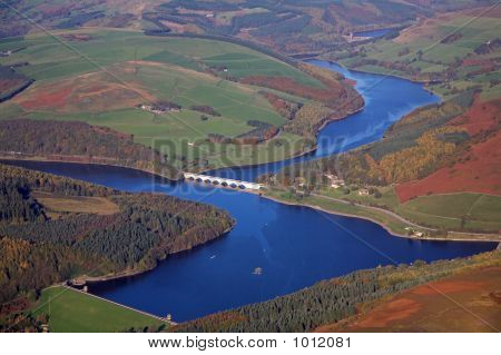 aerial photo of ladybower reservoir in derbyshire poster