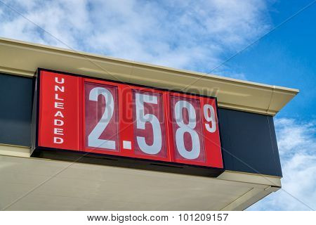 unleaded gasoline price sign on a gas station in Colorado