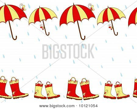 Illustration cute rain boots and umbrella seamless pattern poster