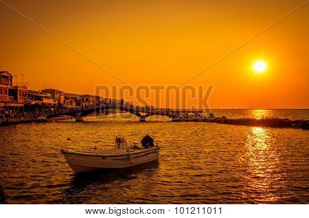 Sunset Over Town Of Lefkas In Lefkada Island, Greece.