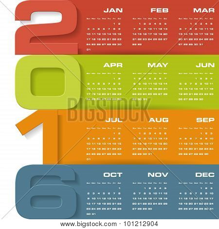 Simple design calendar 2016 year vector design template.