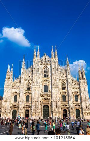 MILAN ITALY - JULY 12 2015: Famous Milan Cathedral Duomo in a beautiful summer day on July 12 2014 in Milan Italy. poster