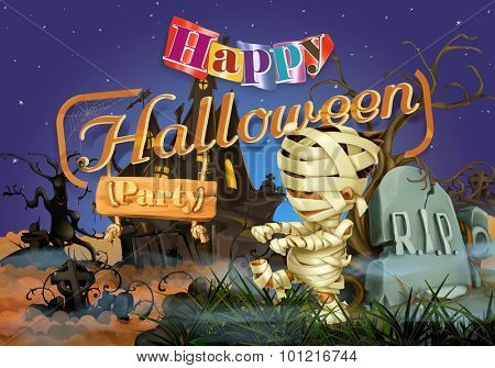 Happy Halloween party, mummy vector background
