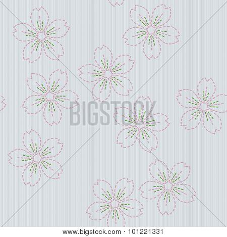 Traditional japanese embroidery. Sashiko with sakura flowers. Seamless pattern.
