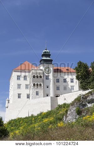 View On Castle Pieskowa Skala In Poland In Sunny Day