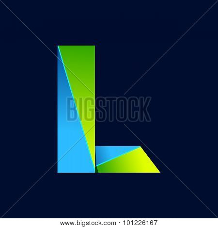 L Letter Line Colorful Logo. Abstract Trendy Green And Blue Vector Design Template Elements For Your