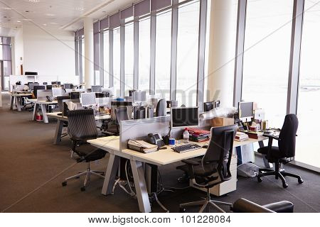 Open plan office interior without people