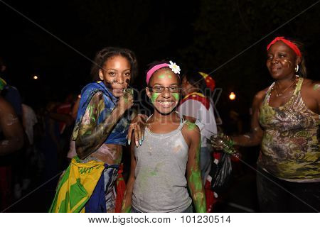 Youngsters celebrating with painted faces