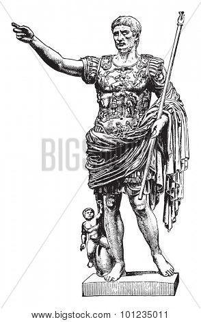 Statue of Augustus, vintage engraved illustration. Industrial encyclopedia E.-O. Lami - 1875.