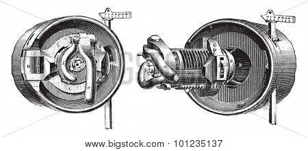 Breech mechanism interrupted screw threads (Bange System), vintage engraved illustration. Industrial encyclopedia E.-O. Lami - 1875.